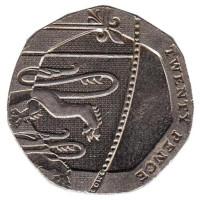 Монета 20 пенсов. 2009 год, Великобритания. Из обращения.
