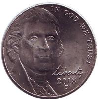 Джефферсон. Монтичелло. Монета 5 центов. 2018 год (D), США.