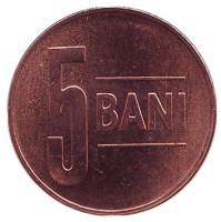 Монета 5 бани. 2012 год, Румыния. UNC.