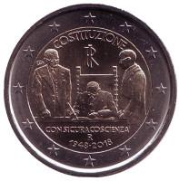 70 лет Конституции Итальянской республики. Монета 2 евро. 2018 год, Италия.