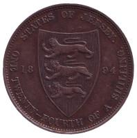 Монета 1/24 шиллинга. 1894 год, Джерси.