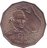 200 лет австралийскому путешествию капитана Кука. Монета 50 центов. 1970 год, Австралия.