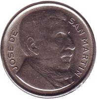 Генерал Хосе де Сан-Мартин. Монета 10 сентаво. 1951 год, Аргентина.