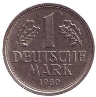 Монета 1 марка. 1980 год (F), ФРГ. Из обращения.