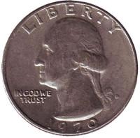 Вашингтон. Монета 25 центов. 1970 (D) год, США.