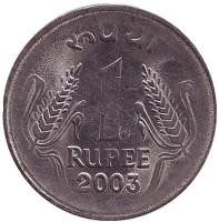 Монета 1 рупия. 2003 год, Индия. (Без отметки монетного двора)