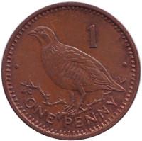 Берберская куропатка. Монета 1 пенни, 1988 год, Гибралтар. (AС)