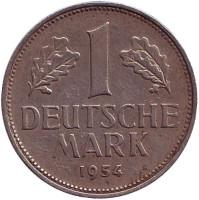 Монета 1 марка. 1954 год (F), ФРГ.