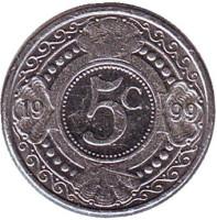 Цветок апельсинового дерева. Монета 5 центов, 1999 год, Нидерландские Антильские острова.