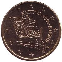 Монета 50 центов. 2008 год, Кипр.