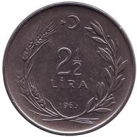 Монета 2,5 лиры. 1965 год, Турция.