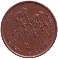 Велоспорт. Монета 2 пенса. 1999 год, Остров Мэн.