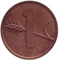 Монета 1 раппен. 1974 год, Швейцария.