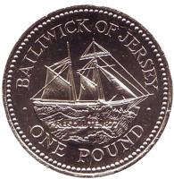 """Шхуна """"Резолют"""". Монета 1 фунт. 2005 год, Джерси."""
