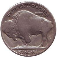 Бизон. Индеец. Монета 5 центов. 1935 год (S), США.