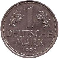 Монета 1 марка. 1992 год (G), ФРГ.