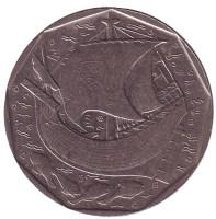 Парусник. Монета 50 эскудо. 1986 год, Португалия.