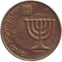 Менора (Семисвечник). Монета 10 агор. 1999 год, Израиль.