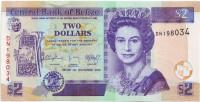 Банкнота 2 доллара. 2014 год, Белиз.