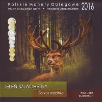 Олень. Набор монет Польши в буклете (9 штук), 2016 год, Польша.