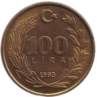 Монета 100 лир. 1993 год, Турция.