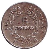 Монета 5 сантимов. 1972 год, Коста-Рика.