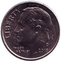 Рузвельт. Монета 10 центов. 2018 (D) год, США.