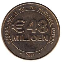 48 Miljoen. Postcode Loterij. Почтовая лотерея. Лотерейный жетон. 2011 год, Нидерланды.
