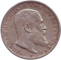 Монета 3 марки. 1910 год, Вюртемберг.