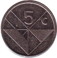 Монета 5 центов. 1986 год, Аруба.