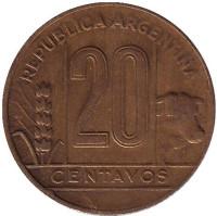 Монета 20 сентаво. 1948 год, Аргентина.