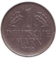 Монета 1 марка. 1980 год (J), ФРГ. Из обращения.