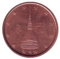 Монета 2 цента, 2013 год, Италия.