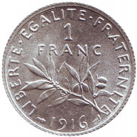 Монета 1 франк. 1916 год, Франция.