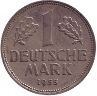 Монета 1 марка. 1955 год (D), ФРГ.