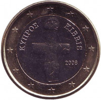 Монета 1 евро. 2008 год, Кипр.