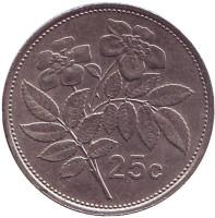 Цветы. Монета 25 центов. 1991 год, Мальта.