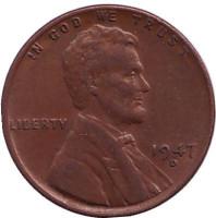 Линкольн. Монета 1 цент. 1947 год (D), США.
