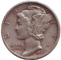 Меркурий. Монета 10 центов, 1941 год (S), США.