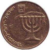 Менора (Семисвечник). Монета 10 агор. 2005 год, Израиль.