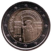 Исторический центр Сантьяго-де-Компостела. Монета 2 евро. 2018 год, Испания.