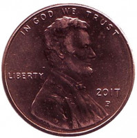Монета 1 цент. 2017 год (P), США.
