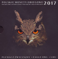 Филин. (Пугач). Набор монет Польши в буклете (9 штук), 2017 год, Польша.