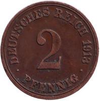 Монета 2 пфеннига. 1913 год (А), Германская империя.
