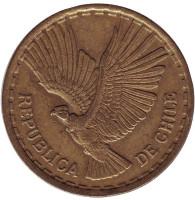 Кондор. Монета 10 чентезимо. 1969 год, Чили. Из обращения.
