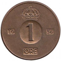 Монета 1 эре. 1956 год, Швеция.