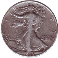Шагающая свобода. Монета 50 центов. 1942 год (P), США.