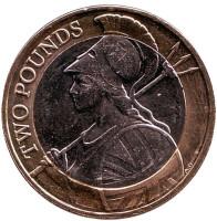 Монета 2 фунта. 2015 год, Великобритания. Новый тип.