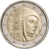 750 лет со дня рождения итальянского художника и архитектора Джотто ди Бондоне. Монета 2 евро. 2017 год, Сан-Марино.
