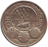 Белфаст. Столицы регионов. Монета 1 фунт. 2010 год, Великобритания.